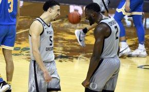 Chris Duarte and Eugene Omoruyi happy reaction