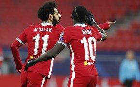Mohamed Salah celebrates goal with teammate