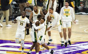Norfolk State players celebrate after beating Morgan State