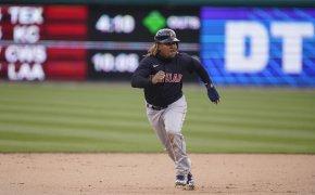 Jose Ramirez breaking for third base
