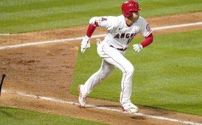 Shohei Ohtani running to first base