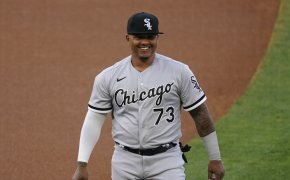 White Sox DH Yermin Mercedes smiling on the field
