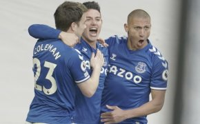 Everton's James Rodriguez celebrating after scoring a goal during a EPL soccer match.