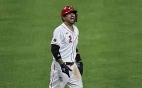 Nick Castellanos celebrates a home run
