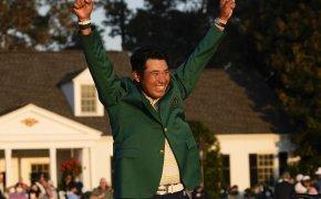 Hideki Matsuyama celebrates his first major championship