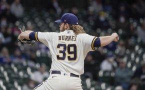Milwaukee Brewers' Corbin Burnes captured mid-pitch