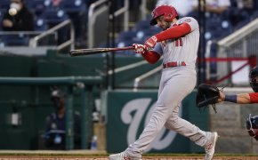 St Louis Cardinals' Paul DeJong swinging the bat