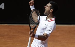 Novak Djokovic celebrating with a fist pump after winning a point during a tennis match.