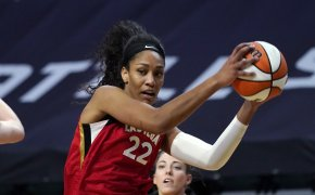 A'ja Wilson holding ball with two hands