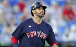 J.D. Martinez of the Boston Red Sox watching his fly ball during a game against the Blue Jays.