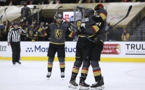 Vegas players celebrating goal