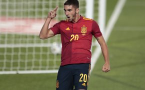 Ferran Torres celebrating after scoring a goal during the UEFA Nations League soccer match.