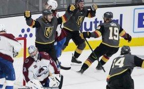 Vegas Golden Knights celebrate goal