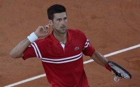 Novak Djokovic looking into crowd, holding hand to ear