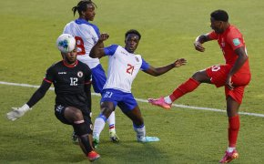 Josue Duverger prevents a Canadian goal
