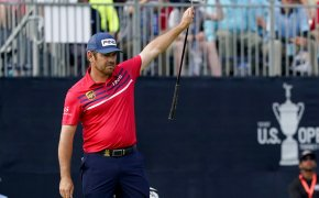 Louis Oosthuizen celebrates a made putt