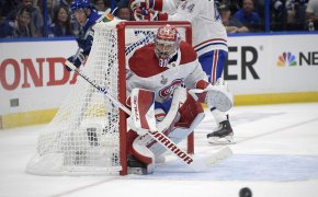 Carey Price looking at puck deep in his net