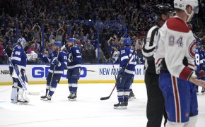 Tampa Bay players celebrate with their goalie