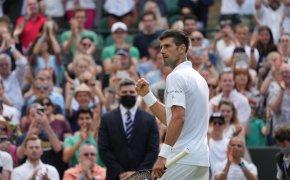 Novak Djokovic celebrating a win with a fist pump during a match at Wimbledon.