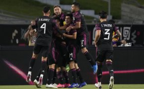 Mexico players celebrate goal