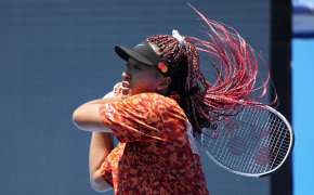 Naomi Osaka practicing a forehand hit ahead of the 2020 Summer Olympics in Tokyo.