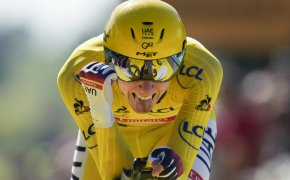 Tadej Pogacar celebrates at the Tour de France
