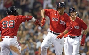 Rafael Devers home run celebration with teammate