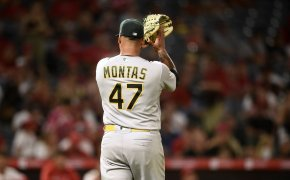 Oakland Athletics starting pitcher Frankie Montas getting set to throw a pitch