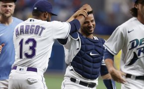 Tampa Bay player shakes head of catcher
