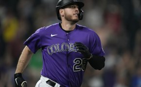 CJ Cron admires a home run