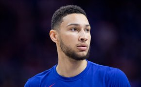 Ben Simmons close up with warm up on