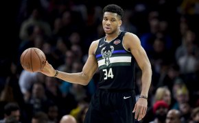 Giannis Antetokounmpo holding basketball with right hand