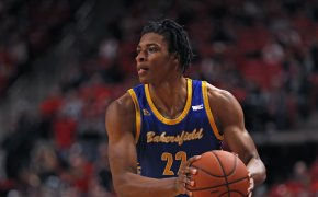 Cal State Bakersfield's Justin McCall looking to pass the ball
