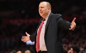 Tom Thibodeau arms out in frustration