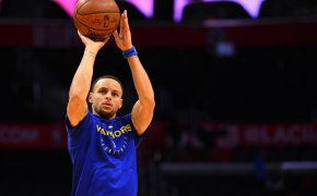 Steph Curry shooting ball with warm up on