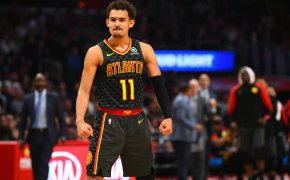Trae Young on court pose