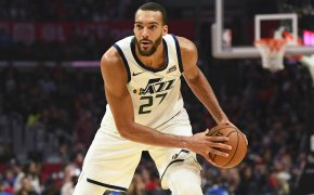 Rudy Gobert holding basketball in offensive stance