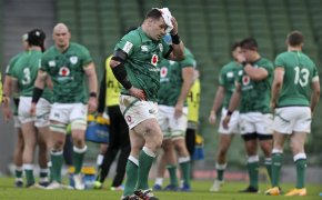 Ireland's Cian Healy leaves the pitch after a clash of heads