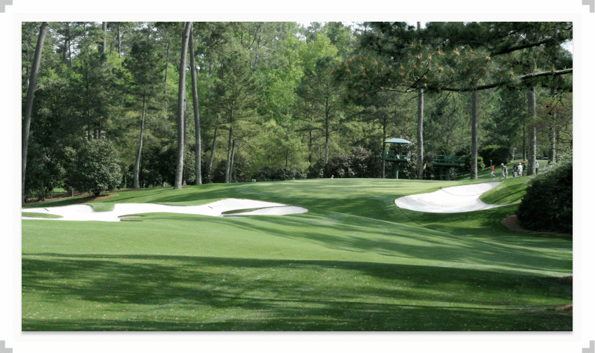 Augusta National golf course with trees and sand bunkers