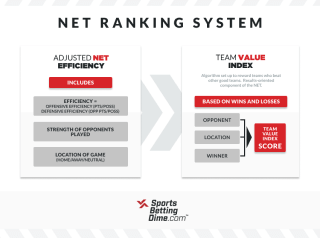 Infographic showing the components of the NET ranking system