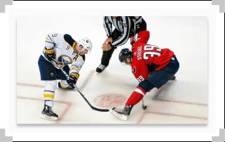Hockey faceoff between the Buffalo Sabres and Washington Capitals