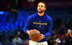 Steph Curry warming up before a game.