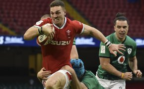 Wales George North runs on his way to score a try