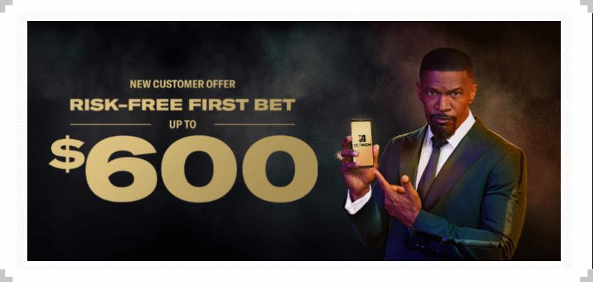 BetMGM risk-free bet offer text over Jamie Foxx