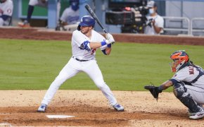 Los Angeles Dodgers designated hitter Gavin Lux swings at a pitch