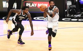 Kyrie Irving beats defender, looks to pass