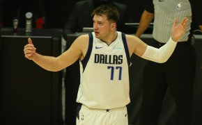 Luka Doncic arms up
