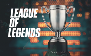 League of Legends graphic with a trophy.