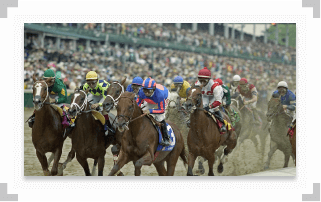 Pack of horses running a race at Kentucky Derby