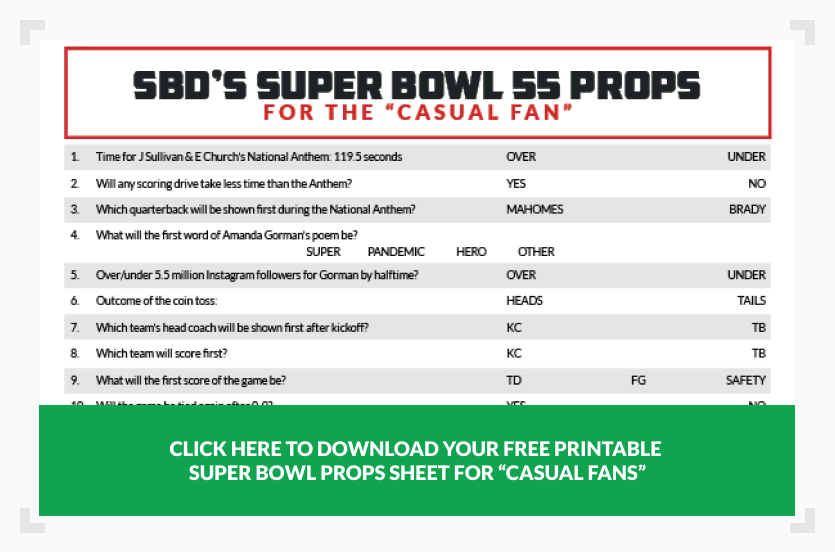 Super Bowl props sheet for casual fan